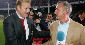 Ronald Koeman while coach of Benfica, with the late Johann Cruyff in Barcelona in 2006. Photograph: Stuart Franklin/Getty Images