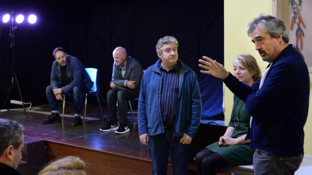 Prison drama: Sebastian Barry (right) with (from left) David Ganly, Niall Buggy, Jim Culleton and Anne Costello at Mountjoy. Photograph: Dara Mac Dónaill