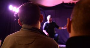 Prison drama: inmates watch David Ganly in Sebastian Barry's On Blueberry Hill at Mountjoy. Photograph: Dara Mac Dónaill