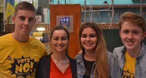 Katie Ascough, UCD Students' Union president (second left), with supporters  at impeachment referendum hustings. Photograph: Jack Power