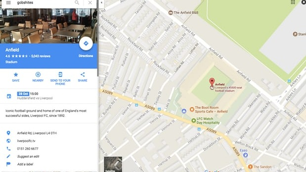 The term 'gobshites' takes Google Maps users to Anfield. Photograph: Google Maps