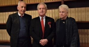 Giovanni Adorni Braccesi, the Italian ambassador to Ireland, John Banville and his wife Janet after the awarding of the Ordine della Stella d'Italia