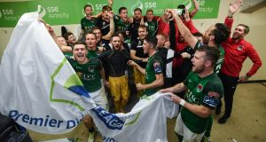 Cork City players celebrate their Premier Division success. To see the community's joy in Turner's Cross that night would bring a tear to a stone. Photograph:  Stephen McCarthy/Sportsfile