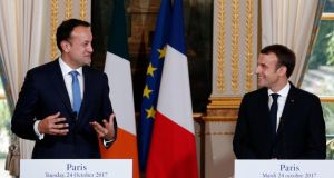 Taoiseach Leo Varadkar and France's president,  Emmanuel Macron, at a press conference at the Élysée Palace in Paris on Tuesday. Photograph: Kamil Zihnioglu/AP Photo