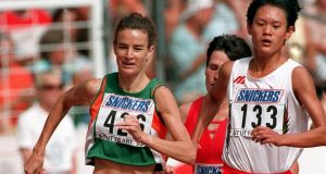 Sonia O'Sullivan on her way to finishing second in the 1500m at the 1993 World Championships in Stuttgart. Photograph: Billy Stickland/Inpho