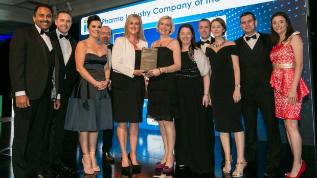 Pamela Quinn, MD, Kuehne + Nagel Ireland presents the Pharma Industry Company of the Year award to the Sanofi Waterford team