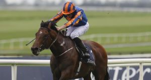 Ryan Moore on Churchill winning the 2,000 Guineas at The Curragh in May. Photograph: Lorraine O'Sullivan/Inpho