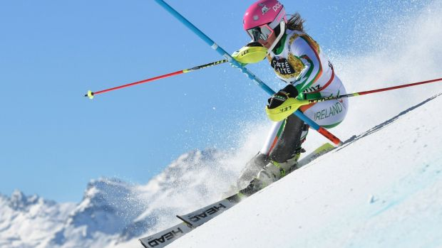 Tess Arbez on the slopes. By the age of four, she was ski racing and by the age of 10, she was competing at a high level. Now, at the age of 19, she looks set to represent Ireland in the Winter Olympics. Photograph: Fabrice Coffrini/AFP/Getty Images