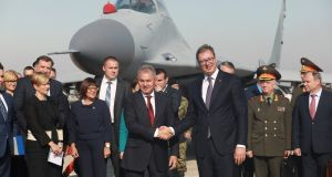Serbian president Aleksandar Vucic and Russian defence minister Sergei Shoigu at an air show in Belgrade: Serbia is Russia's key ally in a region where all the countries now either are or want to be EU members. Photograph:  Djordje Kojadinovic/Reuters