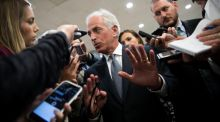 "Trump Twitter feud: the president said the Republican senator Bob Corker ""couldn't get elected dog catcher in Tennessee"". Photograph: Shawn Thew/EPA"