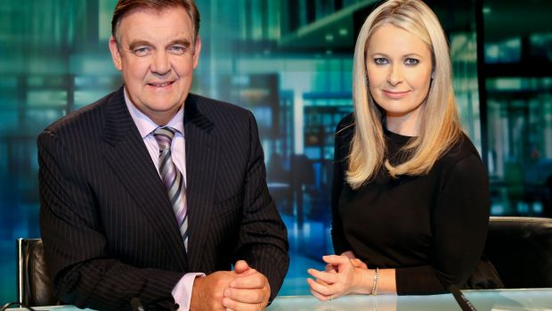 Bryan Dobson and Sharon Ní Bheoláin marking the 25th year of the Six One News programme in 2013