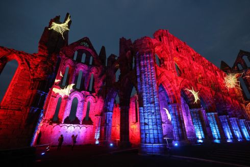 HALLOWEEN: Whitby Abbey in North Yorkshire is lit up to celebrate Halloween. Photograph: Owen Humphreys/PA Wire
