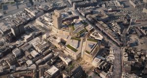 An aerial image of the Belfast city centre site on which the planned regeneration project will take place, if it gets the go ahead.