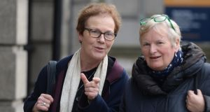 Noeline Blackwell and Angela McCarthy, chief executive and head of clinical services at Dublin Rape Crisis Centre, arriving at Oireachtas Committee hearing. Photograph: Dara Mac Dónaill