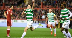 Celtic's Kieran Tierney celebrates scoring against Aberdeen at Pittodrie Stadium. Photograph: PA