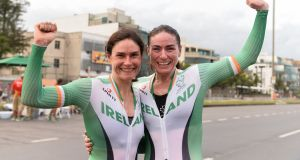 Ireland's Katie-George Dunlevy and her pilot Eve McCrystal after winning gold during the Paralympic Games in Rio de Janeiro where they won two medals. Photograph: Diarmuid Greene/Sportsfile via Getty Images