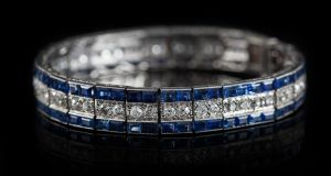 An art deco sapphire and diamond line bracelet, made circa 1930, set throughout with old European brilliant cut diamonds of approx 3ct and step cut sapphires of approx 8ct, made €8,500 at O'Reilly's auction
