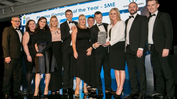 Pamela Quinn, MD, Kuehne + Nagel Ireland presents the Pharma Company of the Year - SME award to the EirGen Pharma team