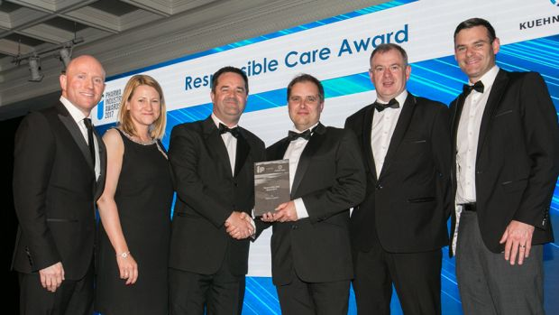 Michael Gillen, BioPharmaChem Ireland presents the Responsible Care Award 2017 to the AbbVie in Ireland team