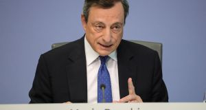 President of the European Central Bank Mario Draghi speaks to media. Photograph: Armando Babani/EPA