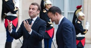 Franco-Irish alliance: Emmanuel Macron and Leo Varadkar at the Élysée Palace. Photograph: Ian Langsdon/EPA