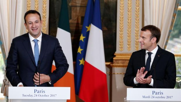 Franco-Irish alliance: Leo Varadkar and Emmanuel Macron at the Élysée Palace. Photograph: Kamil Zihnioglu/Reuters