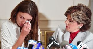 An alleged victim of Harvey Weinstein, Mimi Haleyi, at a press conference held by attorney Gloria Allred in New York recently. Photograph: Mike Coppola/Getty Images