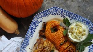 Hasselback squash with roast pork and Cashel blue