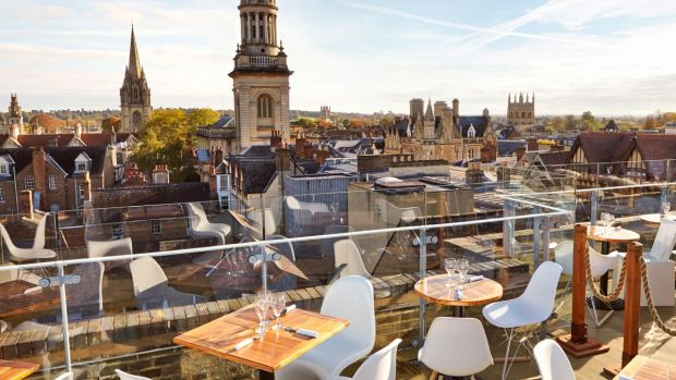 The rooftop terrace at The Varsity Club boasts stunning views. Photograph: The Varsity Club