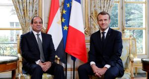 Egyptian president Abdel Fattah al-Sisi meets with French president Emmanuel Macron at the Elysee Palace, in Paris. Photograph: Philippe Wojazer/EPA