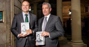Taoiseach Leo Varadkar and RTÉ broadcaster David McCullagh at the National Library for the launch of 'De Valera: Volume I: Rise (1882–1932)'. Photograph: Brenda Fitzsimons