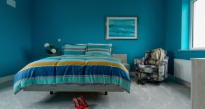 Blue bedroom at  Rath Ullord, a new housing scheme in Co Kilkenny. Photo:  Dylan Vaughan