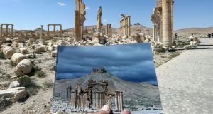 Culture and conflict: the Arc du Triomphe, in Palmyra in Syria, before and after its destruction by Islamic State, in 2015. Photograph: Joseph Eid/AFP/Getty