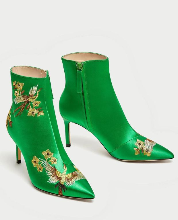 Green satin ankle boots €59.95 from Zara
