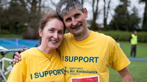 In January 2007, Jason Le Masurier was kite-surfing on Blackpool Beach when tragedy struck, leaving him paralysed down his left-hand side. At the time, he was told he might not walk again. This weekend, he is running the Dublin City Marathon. Photographed with his wife Liz