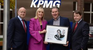 August winners of Irish Times Business Person of the month award in association with KPMG are Voxpro founders Dan and Linda Kiely pictured with Shaun Murphy (left), managing director KPMG and Ciaran Hancock, Irish Times, business editor.Photograph: Dara Mac Dónaill / The Irish Times