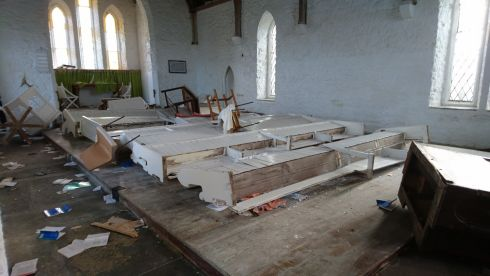 RUINED: A Church of Ireland place of worship in Errislannan outside Clifden in Co Galway which was vandalised this week.