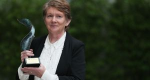 Catherine Corless after receiving the Bar of Ireland's Human Rights Award in recognition of her work in relation to the Tuam mother and baby homes. Photograph: Brian Lawless/PA