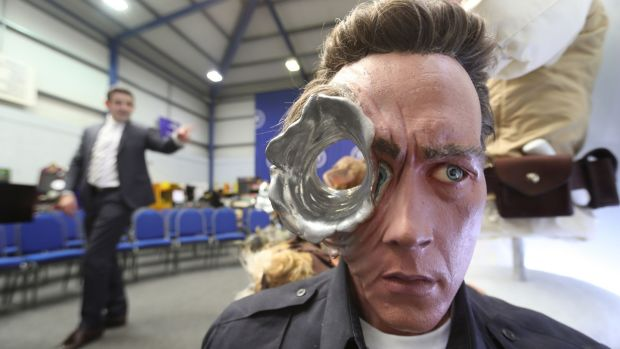 A Terminator replica bust stands among items seized from a drug lord which are to be auctioned at Wilsons Auctions in Mallusk, Co Antrim. Photograph: Niall Carson/PA Wire