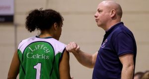 Courtyard Liffey Celtics coach Mark Byrne with DCU Mercy Celtics' Jazmen Boone. Photograph: Tommy Dickson/Inpho