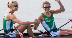 Ireland's Claire Lambe and Sinéad Lynch. Photograph: Morgan Treacy/Inpho