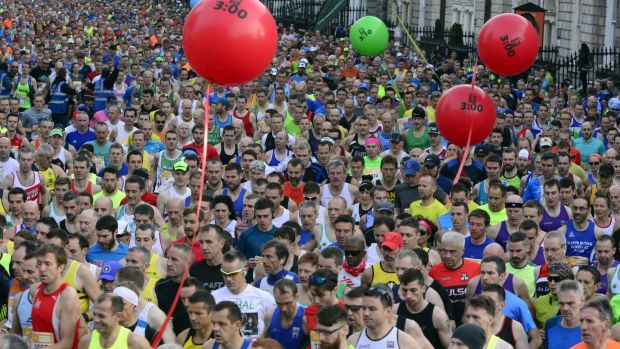 The start of the SSE Airtricity Dublin Marathon in 2016 as almost 20,000 runners took to the streets of the capital. Photograph: Cyril Byrne / THE IRISH TIMES