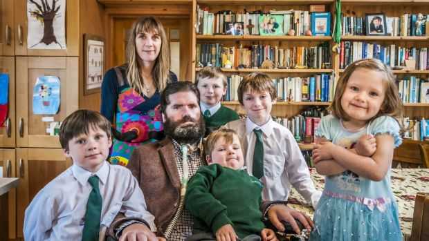 Ruth and Simon Fitzmaurice and their children Jack, Raife, Arden and twins Hunter and Sadie in their home in Greystones, Co Wicklow