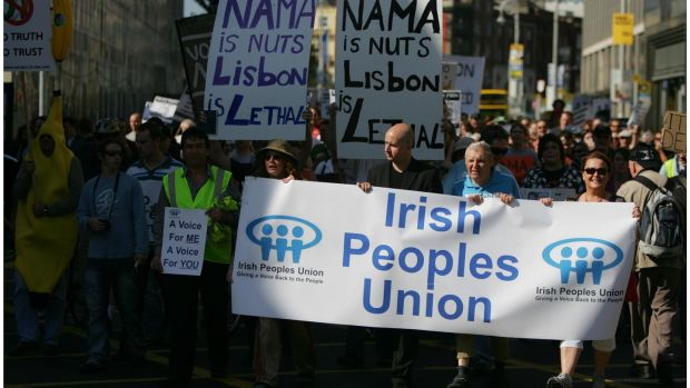 Participants at an anti-Nama protest held in Dublin. File photograph: Bryan O'Brien