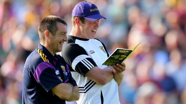 "Tomás Codd, right, with former Wexford boss Liam Dunne. ""Unless the GAA gets control back nothing like that [dual intercounty players] can happen ever again. It is all about Sky and RTÉ: they decide when matches are played."" Photograph: James Crombie/Inpho"