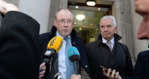 Permanent TSB chief executive Jeremy Masding and chairman Robert Elliott leaving the Department of Finance earlier this week. Photograph: Cyril Byrne