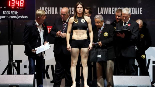 Katie Taylor weighed in at 9st 8lb, one pound under the limit for the fight. Photograph: Lawrence Lustig/Inpho
