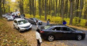 Visitors pull off the road to take autumn photos in Shenandoah National Park in Virginia: the Antiquities Act may be overhauled. Photograph: Karen Bleier/AFP/Getty Images