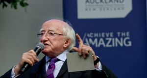 President  Michael D Higgins is seen during a speech to the University of Auckland on Friday as part of his visit to New Zealand. Photograph: Maxwells