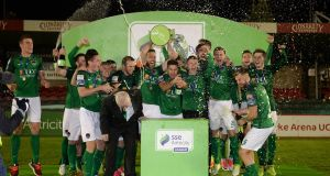 Cork City's players celebrate with the SSE Airtricity League Premier Division trophy at Turner's Cross. Photograph:   Seb Daly/Sportsfile
